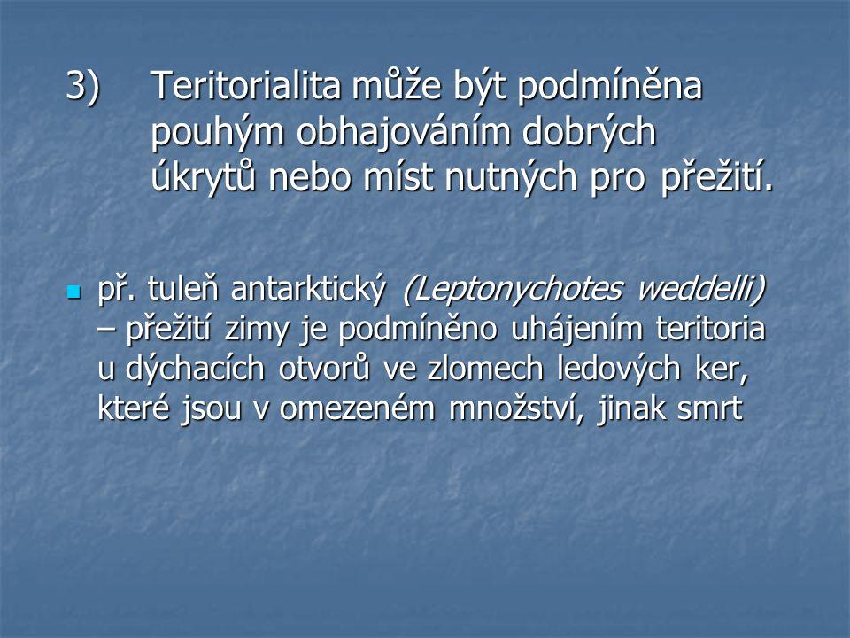 3)Teritorialita může být podmíněna pouhým obhajováním dobrých úkrytů nebo míst nutných pro přežití.