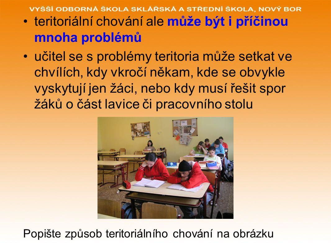 teritoriální chování ale může být i příčinou mnoha problémů učitel se s problémy teritoria může setkat ve chvílích, kdy vkročí někam, kde se obvykle v