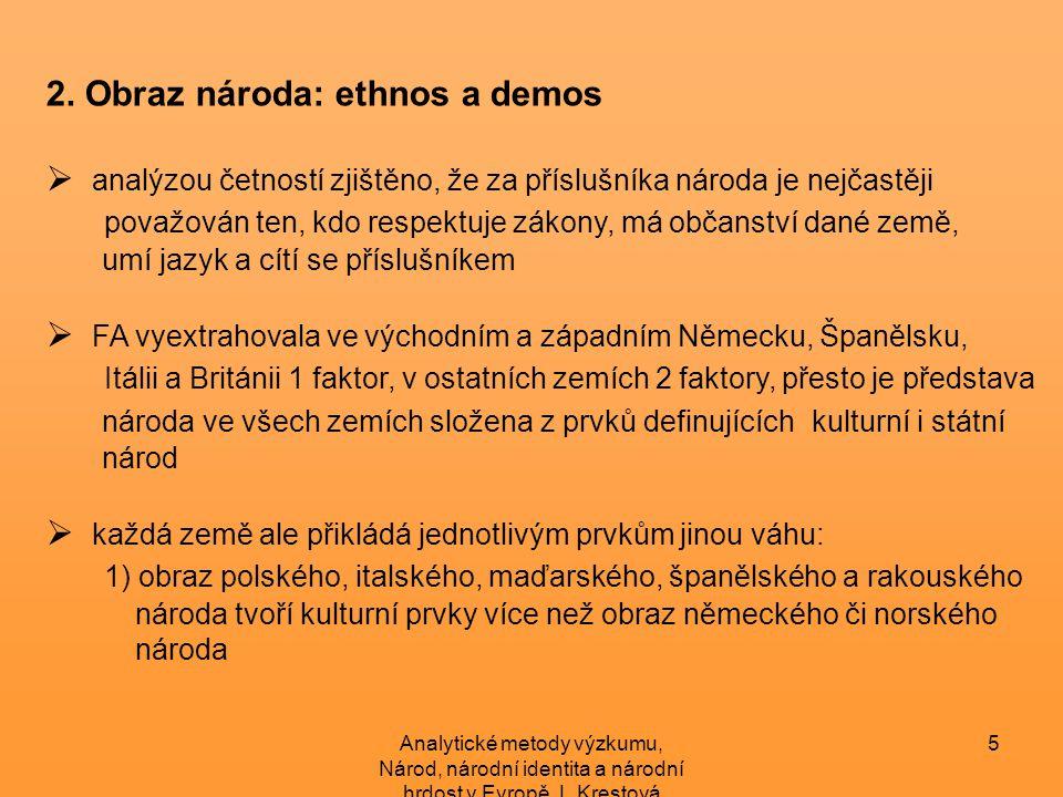 Analytické metody výzkumu, Národ, národní identita a národní hrdost v Evropě, L.Krestová 6 2) obraz italského, rakouského, britského, německého, španělského, polského národa více utvářejí státoprávní prvky, narozdíl od národa maďarského 3.