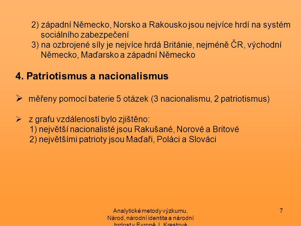 Analytické metody výzkumu, Národ, národní identita a národní hrdost v Evropě, L.Krestová 8 Závěr  všech 11 zemí se nejvíce identifikuje s národním státem (Maďaři nejsilněji, Britové nejslaběji)  v žádné z analyzovaných zemí nebyl nalezen čistý státní, ani čistý kulturní národ  silnějším zdrojem národní hrdosti jsou úspěchy v oblasti kultury než výkony státu  ČR se mezi ostatními zeměmi jeví jako průměrná, nejvíce se podobá Slovensku