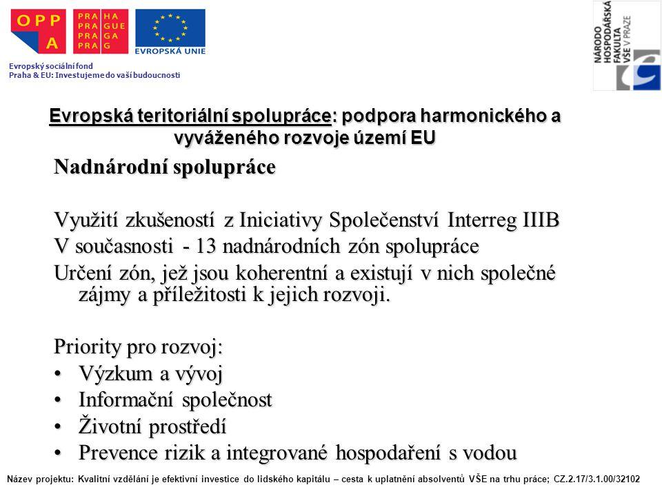 Evropská teritoriální spolupráce: podpora harmonického a vyváženého rozvoje území EU Nadnárodní spolupráce Využití zkušeností z Iniciativy Společenstv
