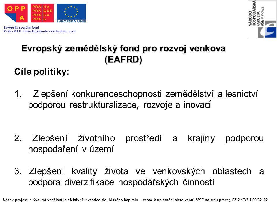 Evropský zemědělský fond pro rozvoj venkova (EAFRD) Cíle politiky: 1. Zlepšení konkurenceschopnosti zemědělství a lesnictví podporou restrukturalizace