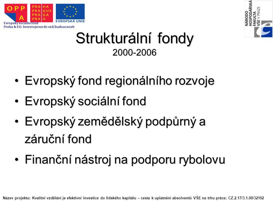Strukturální fondy 2000-2006 Evropský fond regionálního rozvojeEvropský fond regionálního rozvoje Evropský sociální fondEvropský sociální fond Evropsk