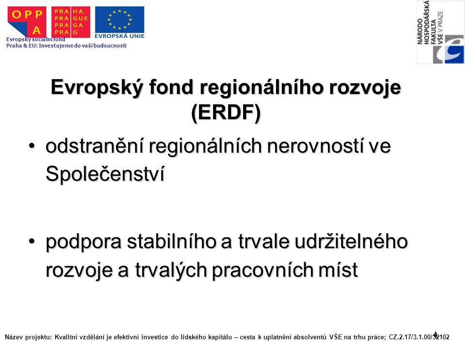 4 Evropský fond regionálního rozvoje (ERDF) odstranění regionálních nerovností ve Společenstvíodstranění regionálních nerovností ve Společenství podpo
