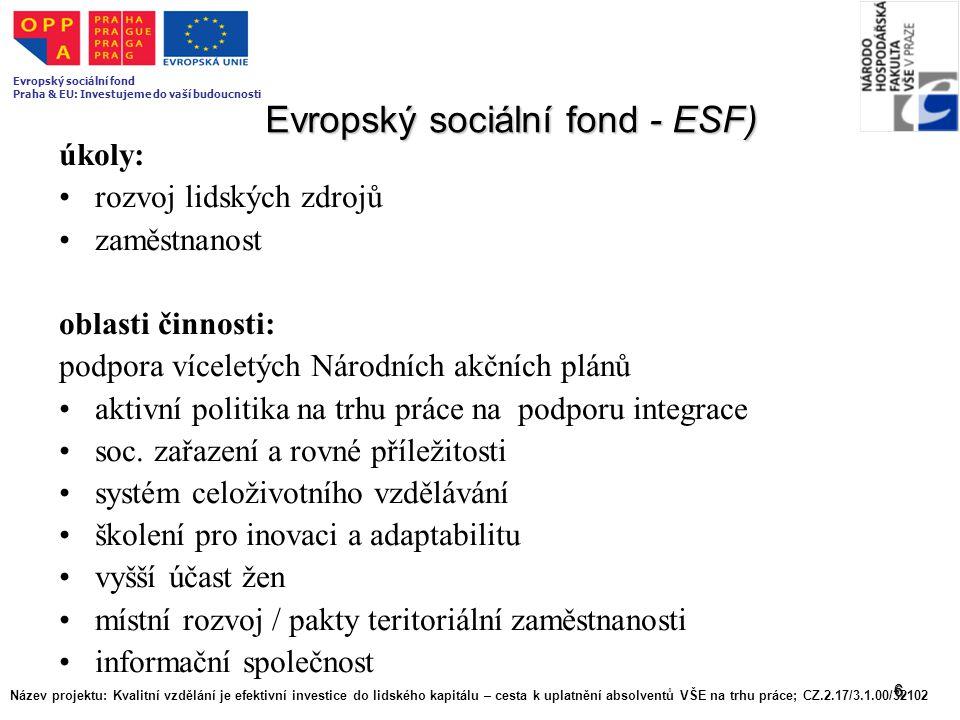 6 Evropský sociální fond - ESF) úkoly: rozvoj lidských zdrojů zaměstnanost oblasti činnosti: podpora víceletých Národních akčních plánů aktivní politi