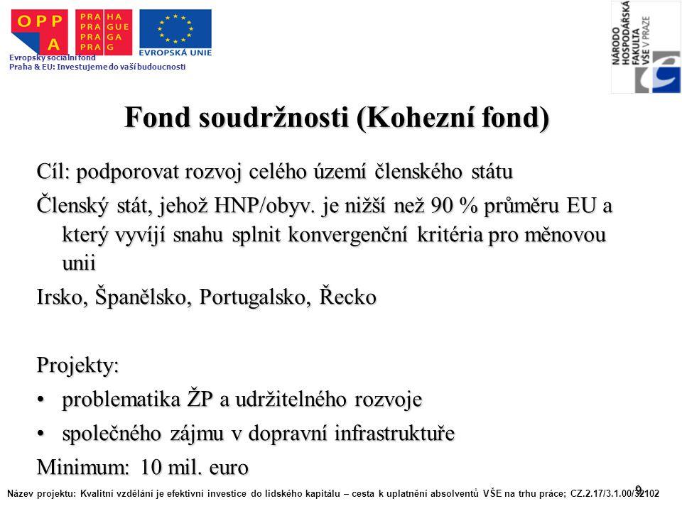 9 Fond soudržnosti (Kohezní fond) Cíl: podporovat rozvoj celého území členského státu Členský stát, jehož HNP/obyv. je nižší než 90 % průměru EU a kte