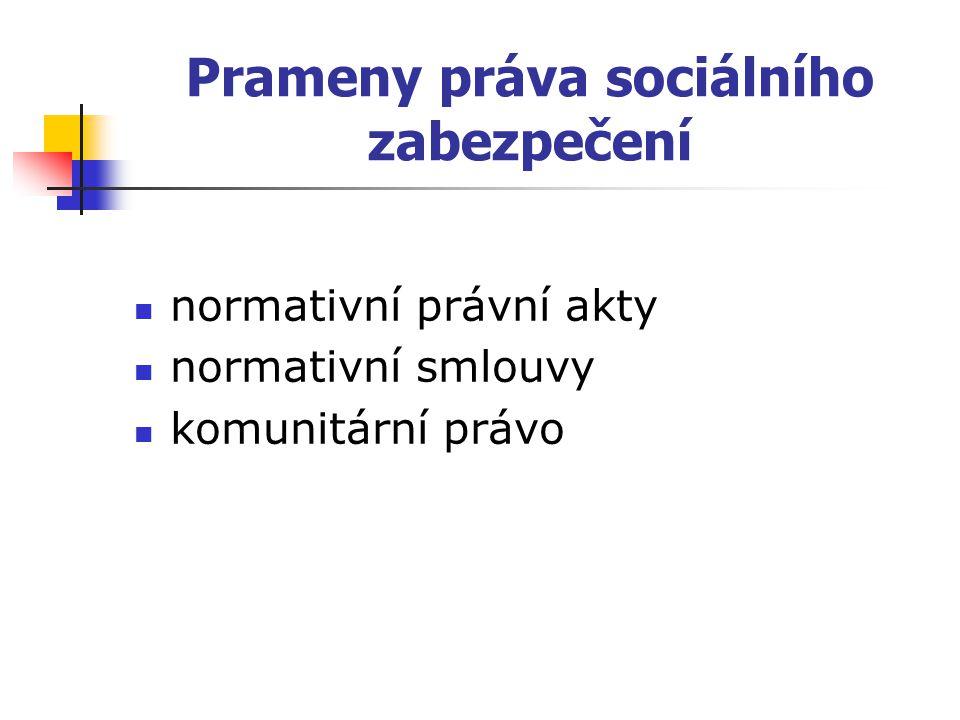 Prameny práva sociálního zabezpečení normativní právní akty normativní smlouvy komunitární právo