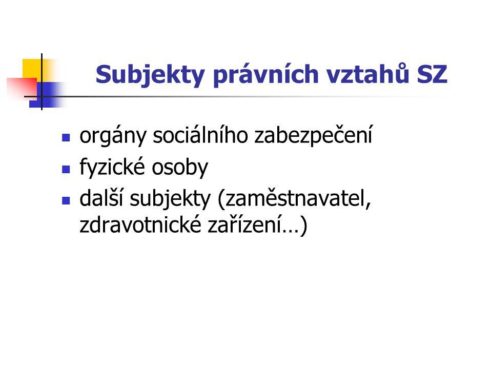 Subjekty právních vztahů SZ orgány sociálního zabezpečení fyzické osoby další subjekty (zaměstnavatel, zdravotnické zařízení…)