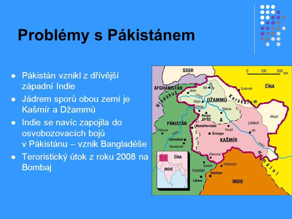Problémy s Pákistánem Pákistán vznikl z dřívější západní Indie Jádrem sporů obou zemí je Kašmír a Džammů Indie se navíc zapojila do osvobozovacích boj