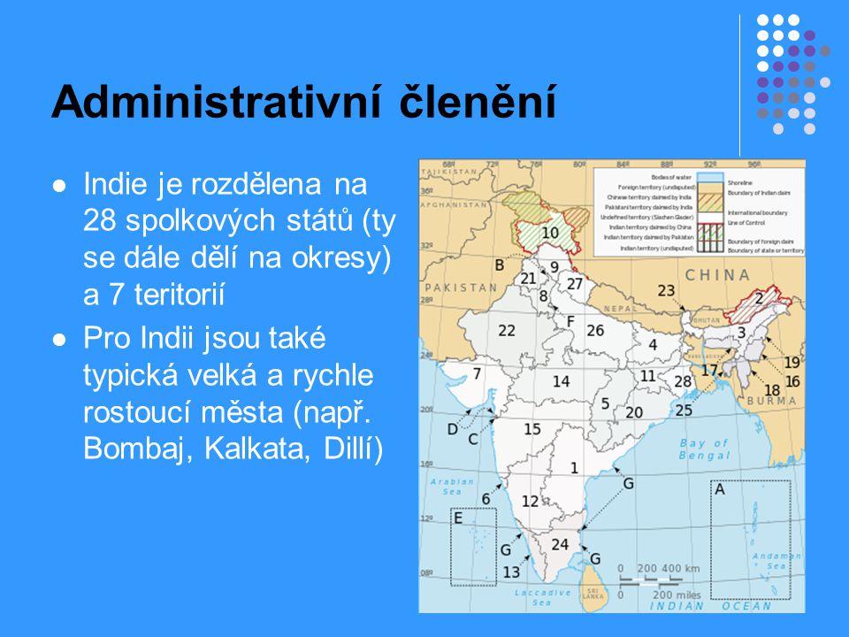 Administrativní členění Indie je rozdělena na 28 spolkových států (ty se dále dělí na okresy) a 7 teritorií Pro Indii jsou také typická velká a rychle