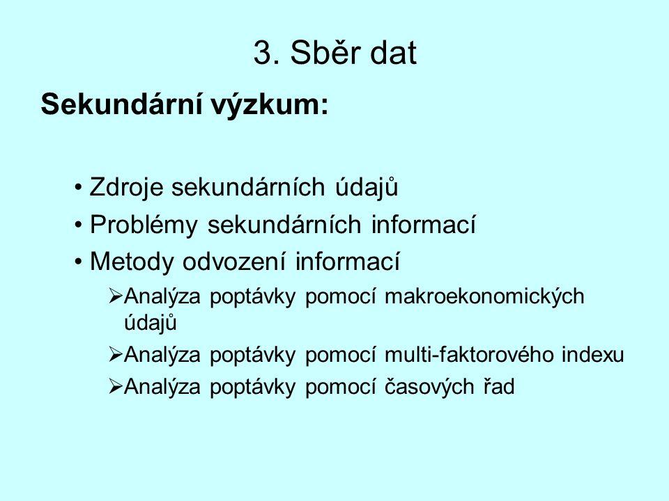 3. Sběr dat Sekundární výzkum: Zdroje sekundárních údajů Problémy sekundárních informací Metody odvození informací  Analýza poptávky pomocí makroekon