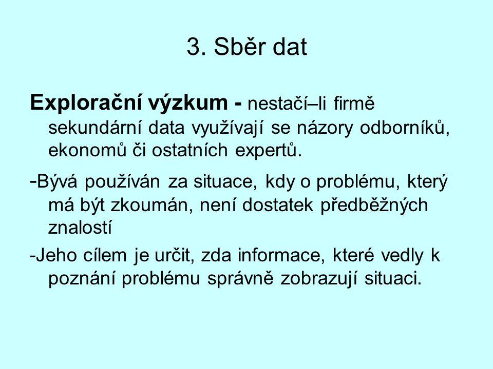 3. Sběr dat Explorační výzkum - nestačí–li firmě sekundární data využívají se názory odborníků, ekonomů či ostatních expertů. - Bývá používán za situa