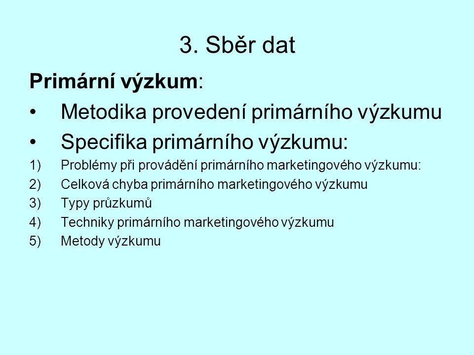 3. Sběr dat Primární výzkum: Metodika provedení primárního výzkumu Specifika primárního výzkumu: 1)Problémy při provádění primárního marketingového vý