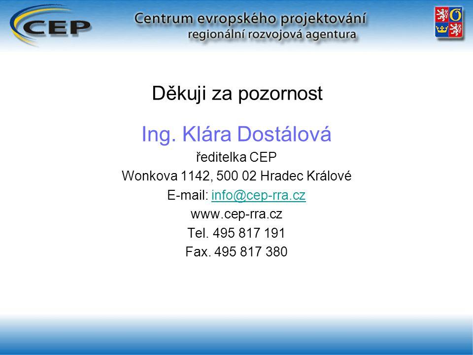 Děkuji za pozornost Ing. Klára Dostálová ředitelka CEP Wonkova 1142, 500 02 Hradec Králové E-mail: info@cep-rra.czinfo@cep-rra.cz www.cep-rra.cz Tel.
