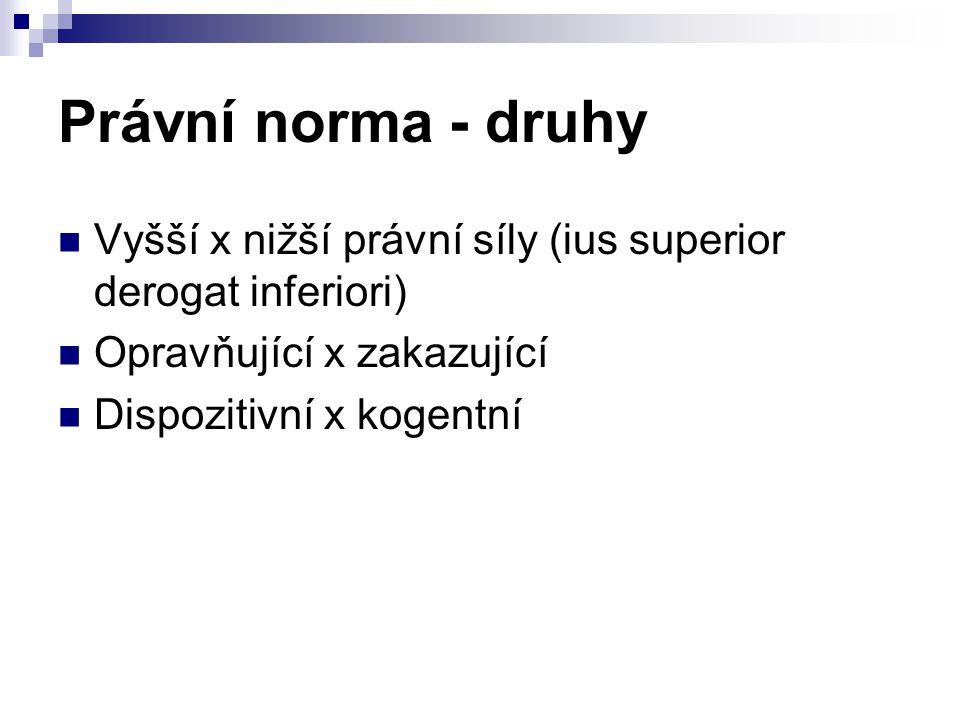 Právní norma - druhy Vyšší x nižší právní síly (ius superior derogat inferiori) Opravňující x zakazující Dispozitivní x kogentní