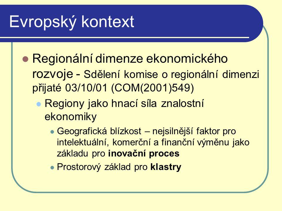 Evropský kontext Regionální dimenze ekonomického rozvoje - Sdělení komise o regionální dimenzi přijaté 03/10/01 (COM(2001)549) Regiony jako hnací síla