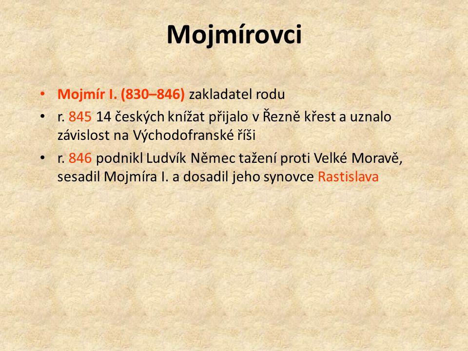 Mojmírovci Mojmír I. (830–846) zakladatel rodu r.