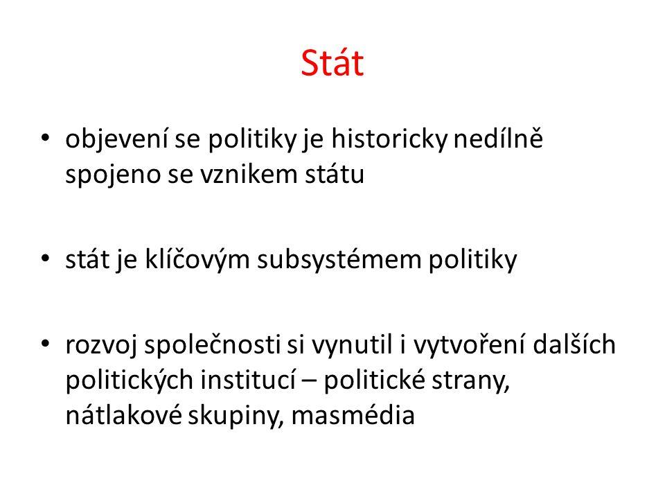 Stát objevení se politiky je historicky nedílně spojeno se vznikem státu stát je klíčovým subsystémem politiky rozvoj společnosti si vynutil i vytvoření dalších politických institucí – politické strany, nátlakové skupiny, masmédia
