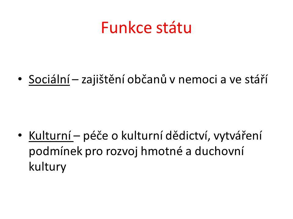 Funkce státu Sociální – zajištění občanů v nemoci a ve stáří Kulturní – péče o kulturní dědictví, vytváření podmínek pro rozvoj hmotné a duchovní kultury