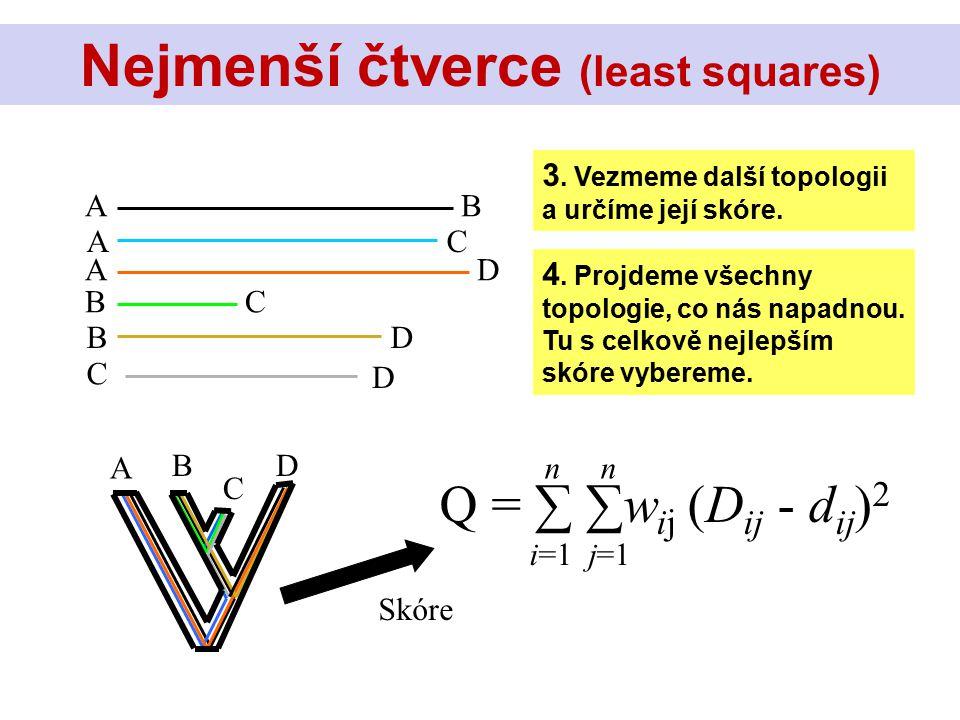 AB AC AD BC BD C D Skóre 3. Vezmeme další topologii a určíme její skóre. Q = ∑ ∑w ij (D ij - d ij ) 2 n i=1 j=1 B C D 4. Projdeme všechny topologie, c