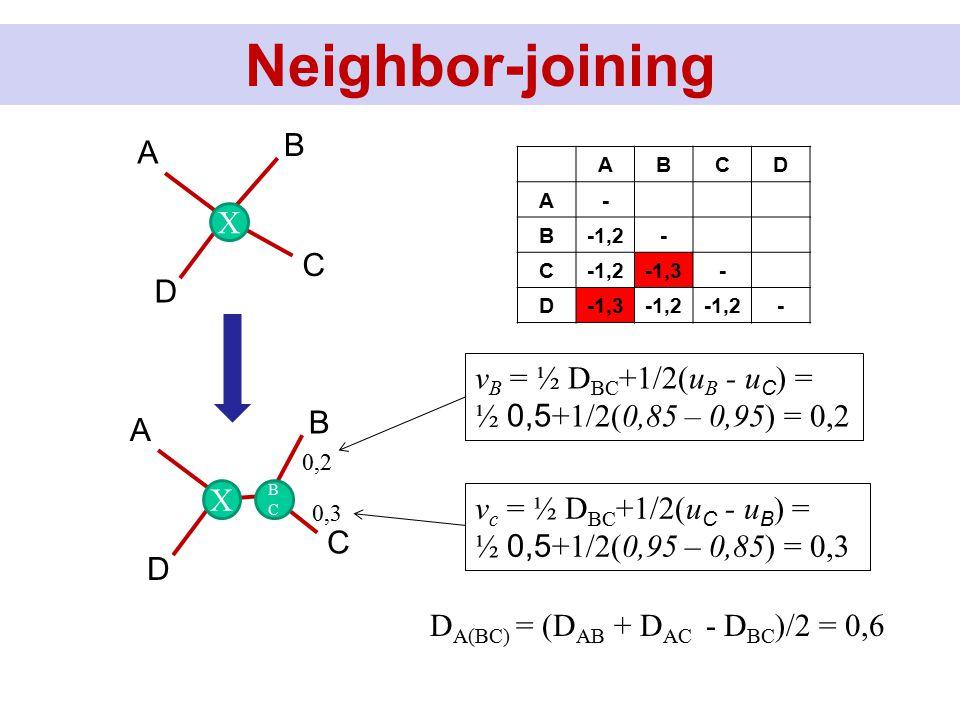Neighbor-joining D B C A ABCD A- B-1,2- C -1,3- D -1,2 - X D B C A X BCBC 0,2 0,3 v B = ½ D BC +1/2(u B - u C ) = ½ 0,5 +1/2(0,85 – 0,95) = 0,2 v c =