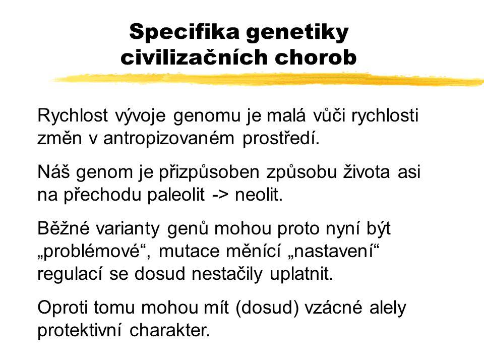 Specifika genetiky civilizačních chorob Rychlost vývoje genomu je malá vůči rychlosti změn v antropizovaném prostředí. Náš genom je přizpůsoben způsob