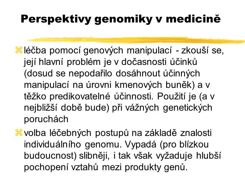 Perspektivy genomiky v medicině zléčba pomocí genových manipulací - zkouší se, její hlavní problém je v dočasnosti účinků (dosud se nepodařilo dosáhno