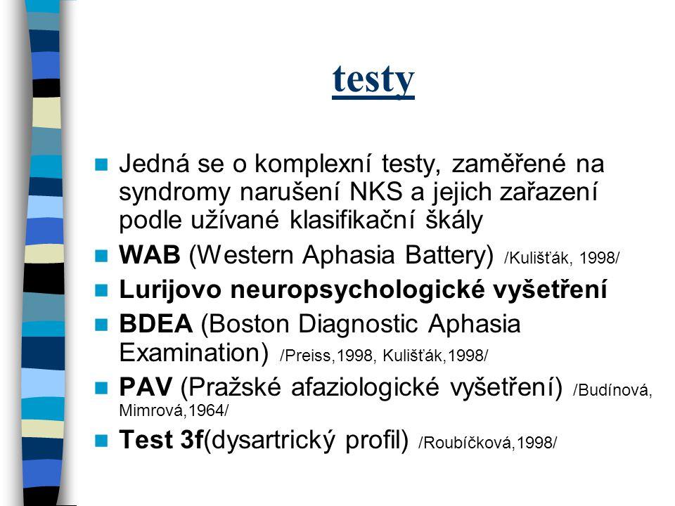testy Jedná se o komplexní testy, zaměřené na syndromy narušení NKS a jejich zařazení podle užívané klasifikační škály WAB (Western Aphasia Battery) /