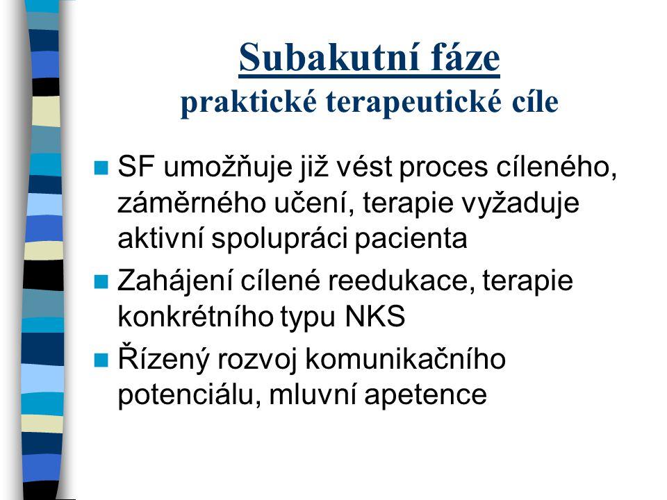 Subakutní fáze praktické terapeutické cíle SF umožňuje již vést proces cíleného, záměrného učení, terapie vyžaduje aktivní spolupráci pacienta Zahájen