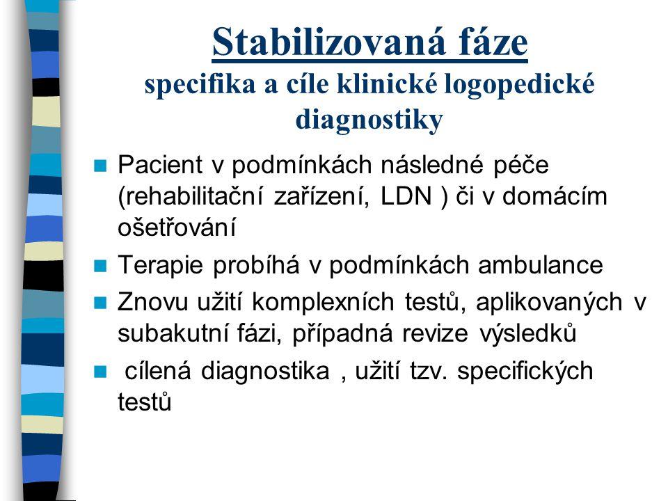 Stabilizovaná fáze specifika a cíle klinické logopedické diagnostiky Pacient v podmínkách následné péče (rehabilitační zařízení, LDN ) či v domácím oš