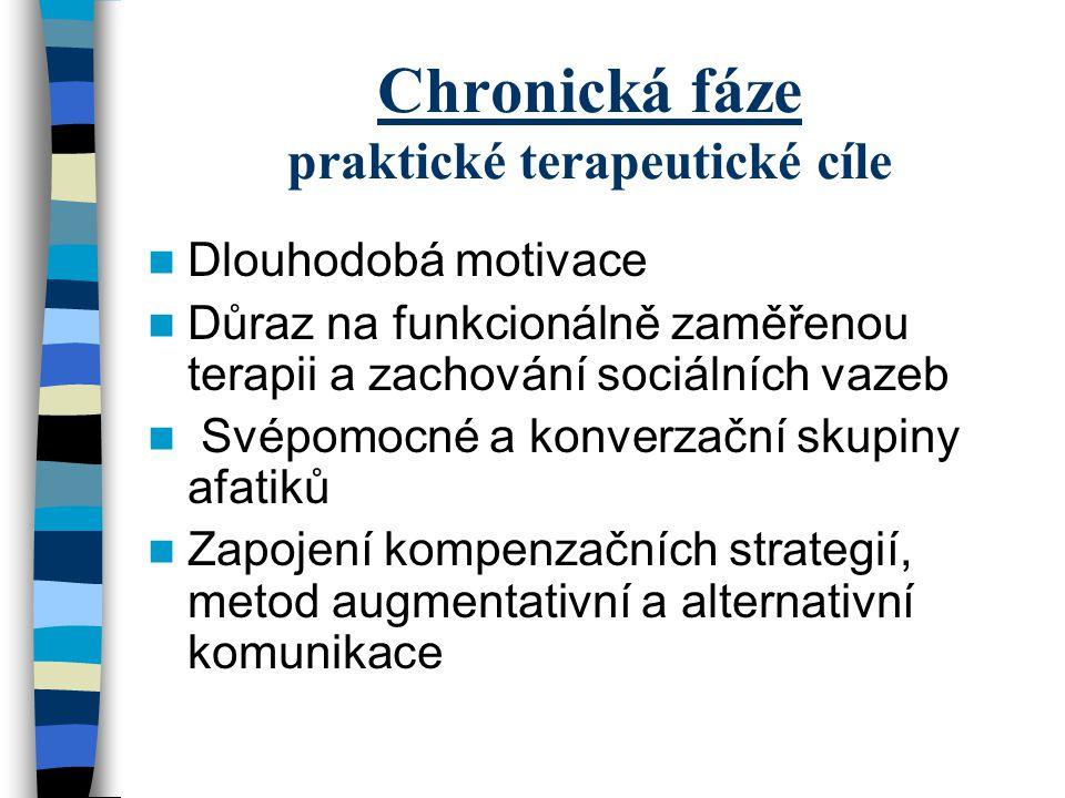 Chronická fáze praktické terapeutické cíle Dlouhodobá motivace Důraz na funkcionálně zaměřenou terapii a zachování sociálních vazeb Svépomocné a konve