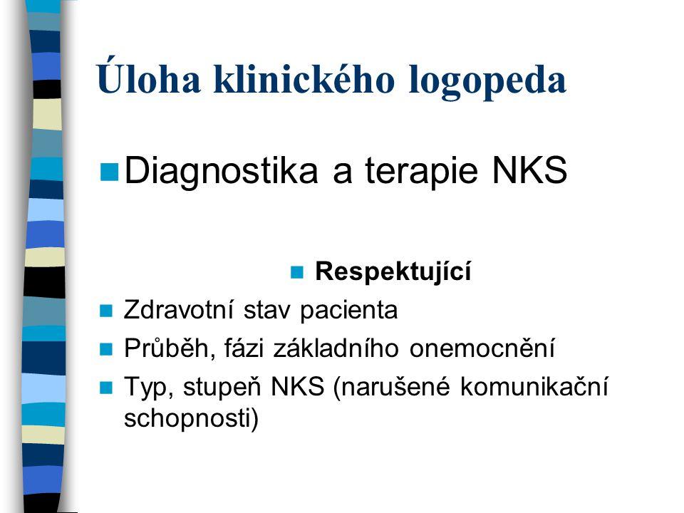 Úloha klinického logopeda Diagnostika a terapie NKS Respektující Zdravotní stav pacienta Průběh, fázi základního onemocnění Typ, stupeň NKS (narušené