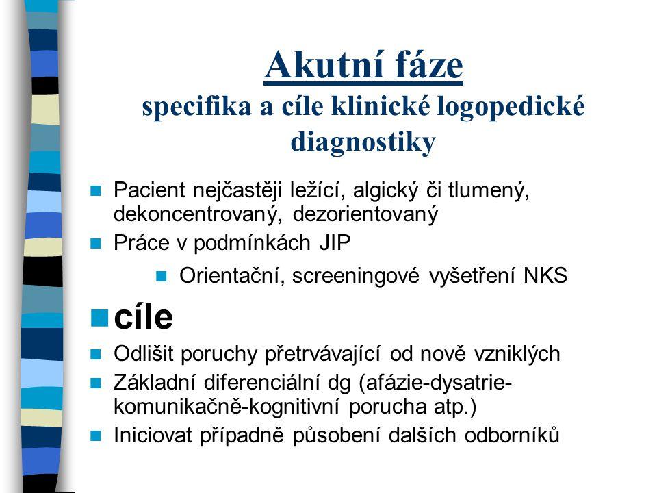 Akutní fáze specifika a cíle klinické logopedické diagnostiky Pacient nejčastěji ležící, algický či tlumený, dekoncentrovaný, dezorientovaný Práce v p