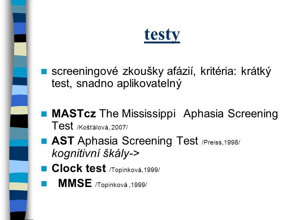 testy screeningové zkoušky afázií, kritéria: krátký test, snadno aplikovatelný MASTcz The Mississippi Aphasia Screening Test /Košťálová, 2007/ AST Aph