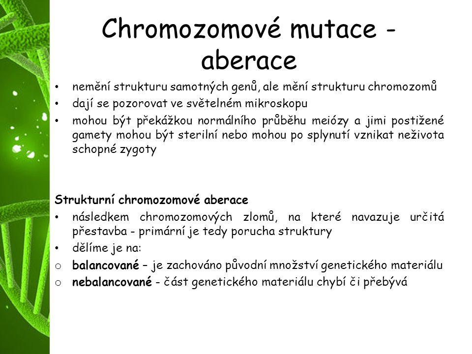 Chromozomové mutace - aberace nemění strukturu samotných genů, ale mění strukturu chromozomů dají se pozorovat ve světelném mikroskopu mohou být překá