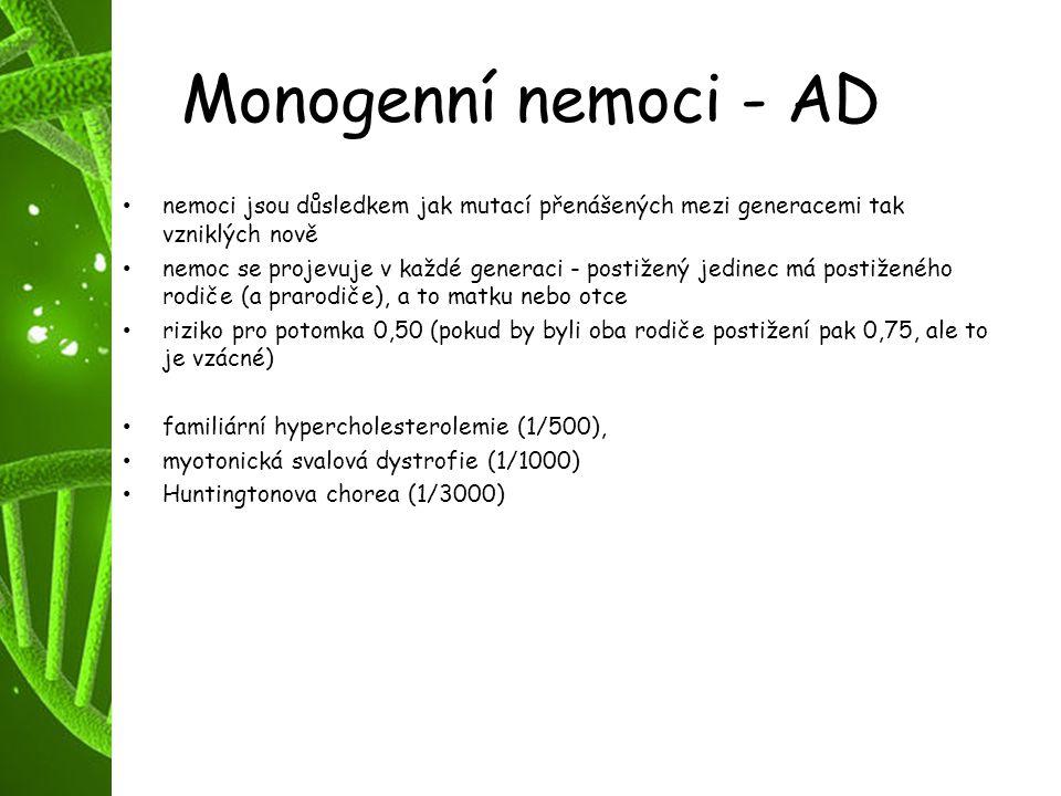 Monogenní nemoci - AD nemoci jsou důsledkem jak mutací přenášených mezi generacemi tak vzniklých nově nemoc se projevuje v každé generaci - postižený