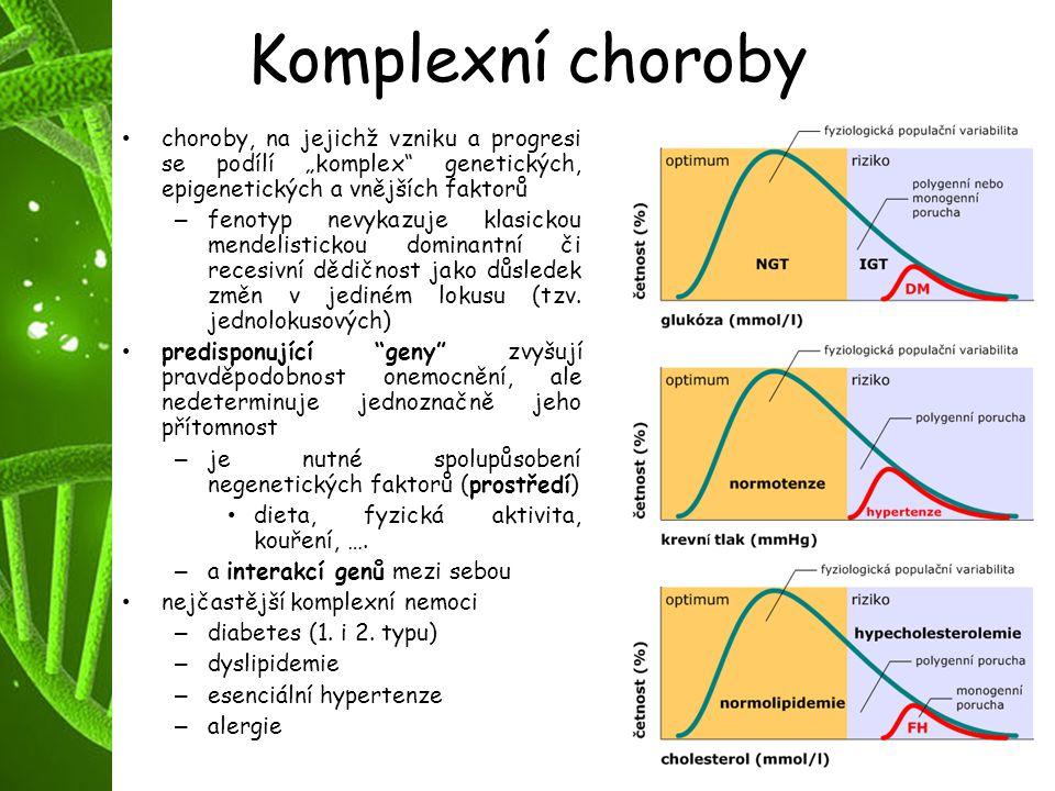 """Komplexní choroby choroby, na jejichž vzniku a progresi se podílí """"komplex"""" genetických, epigenetických a vnějších faktorů – fenotyp nevykazuje klasic"""