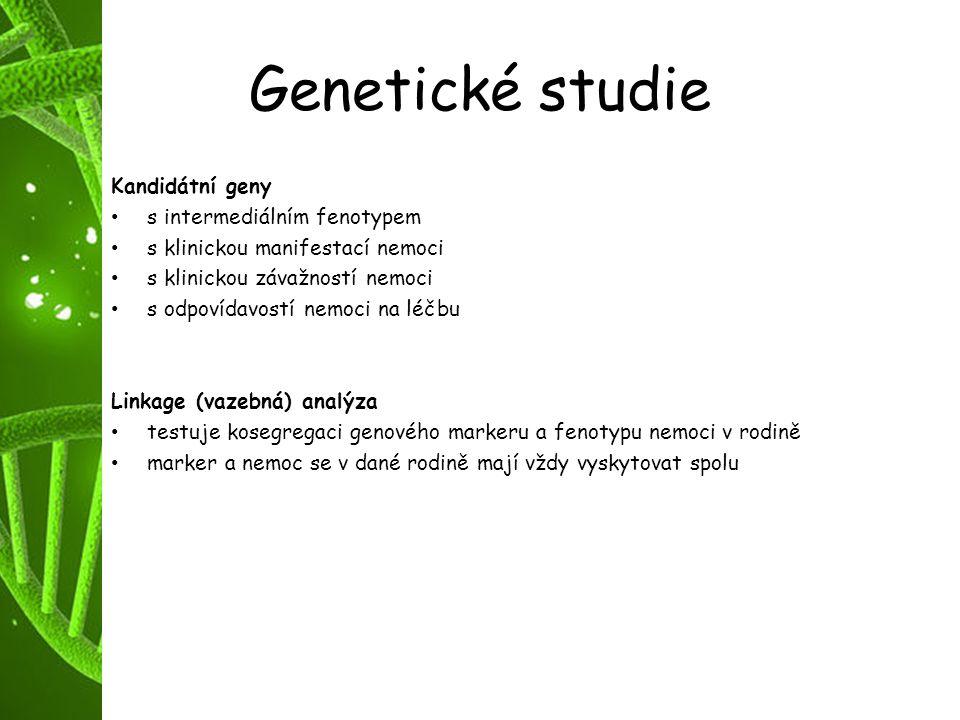 Genetické studie Kandidátní geny s intermediálním fenotypem s klinickou manifestací nemoci s klinickou závažností nemoci s odpovídavostí nemoci na léč