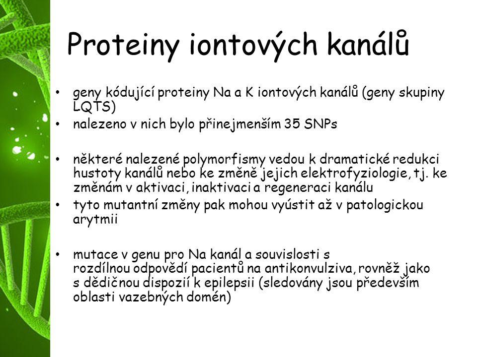 Proteiny iontových kanálů geny kódující proteiny Na a K iontových kanálů (geny skupiny LQTS) nalezeno v nich bylo přinejmenším 35 SNPs některé nalezen