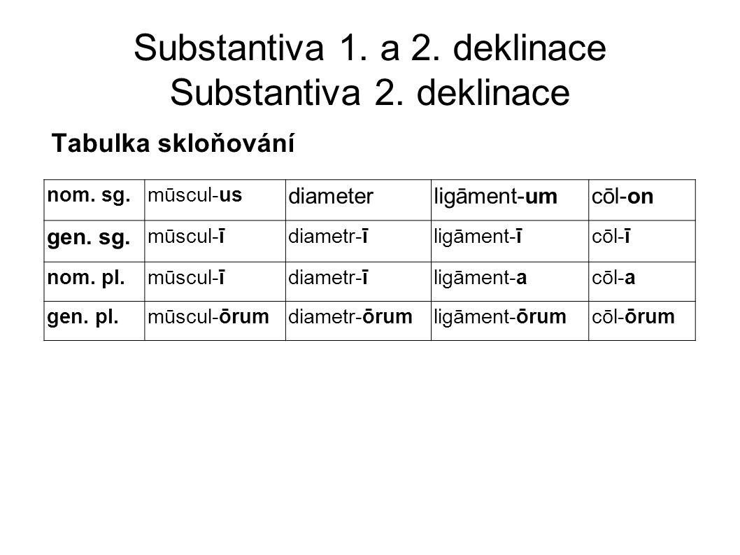 Substantiva 1.a 2. deklinace Substantiva 2. deklinace Tabulka skloňování nom.