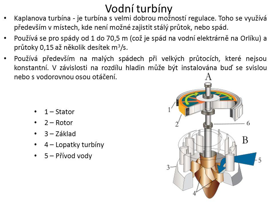 Vodní turbíny Kaplanova turbína - je turbína s velmi dobrou možností regulace. Toho se využívá především v místech, kde není možné zajistit stálý průt