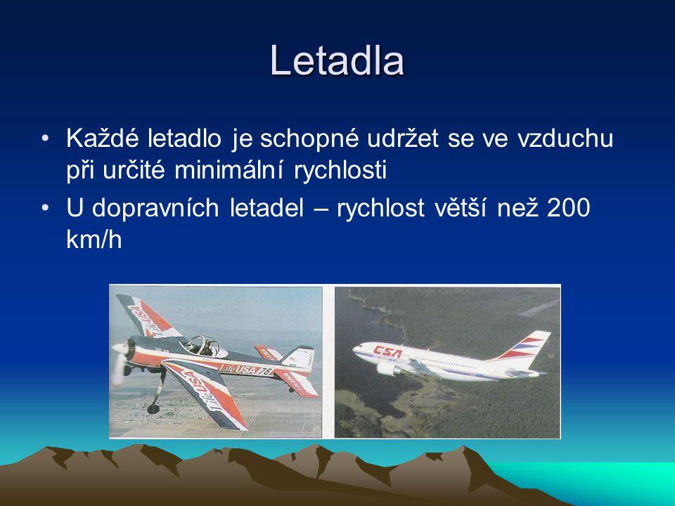 Letadla Každé letadlo je schopné udržet se ve vzduchu při určité minimální rychlosti U dopravních letadel – rychlost větší než 200 km/h
