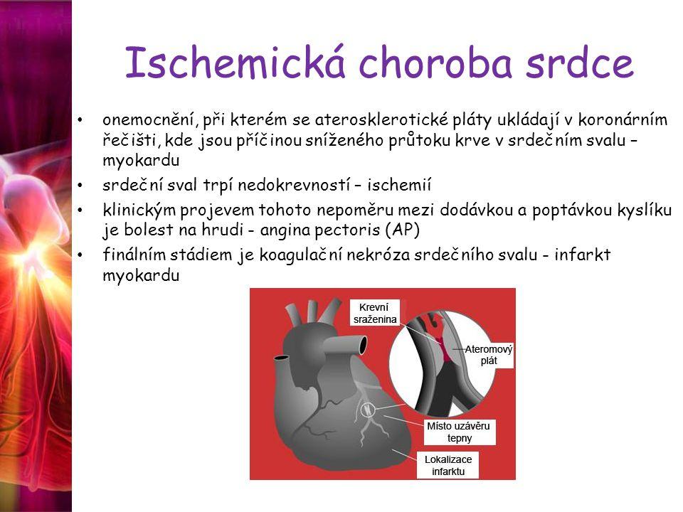 Ischemická choroba srdce onemocnění, při kterém se aterosklerotické pláty ukládají v koronárním řečišti, kde jsou příčinou sníženého průtoku krve v srdečním svalu – myokardu srdeční sval trpí nedokrevností – ischemií klinickým projevem tohoto nepoměru mezi dodávkou a poptávkou kyslíku je bolest na hrudi - angina pectoris (AP) finálním stádiem je koagulační nekróza srdečního svalu - infarkt myokardu