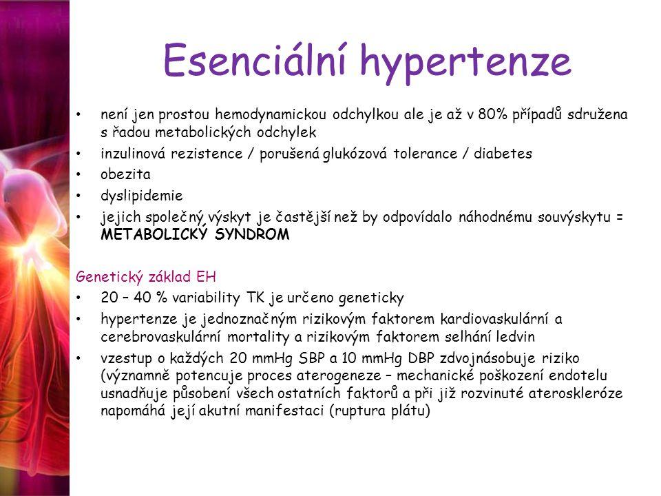 Esenciální hypertenze není jen prostou hemodynamickou odchylkou ale je až v 80% případů sdružena s řadou metabolických odchylek inzulinová rezistence / porušená glukózová tolerance / diabetes obezita dyslipidemie jejich společný výskyt je častější než by odpovídalo náhodnému souvýskytu = METABOLICKÝ SYNDROM Genetický základ EH 20 – 40 % variability TK je určeno geneticky hypertenze je jednoznačným rizikovým faktorem kardiovaskulární a cerebrovaskulární mortality a rizikovým faktorem selhání ledvin vzestup o každých 20 mmHg SBP a 10 mmHg DBP zdvojnásobuje riziko (významně potencuje proces aterogeneze – mechanické poškození endotelu usnadňuje působení všech ostatních faktorů a při již rozvinuté ateroskleróze napomáhá její akutní manifestaci (ruptura plátu)