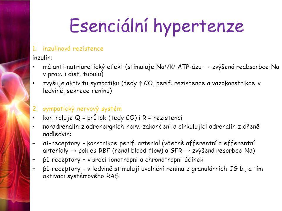 Esenciální hypertenze 1.inzulinová rezistence inzulin: má anti-natriuretický efekt (stimuluje Na + /K + ATP-ázu → zvýšená reabsorbce Na v prox. i dist