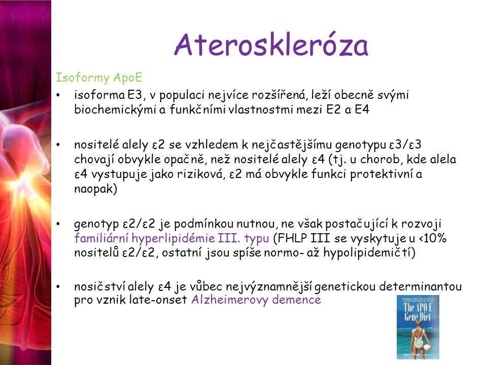 Ateroskleróza Isoformy ApoE isoforma E3, v populaci nejvíce rozšířená, leží obecně svými biochemickými a funkčními vlastnostmi mezi E2 a E4 nositelé alely ε2 se vzhledem k nejčastějšímu genotypu ε3/ε3 chovají obvykle opačně, než nositelé alely ε4 (tj.