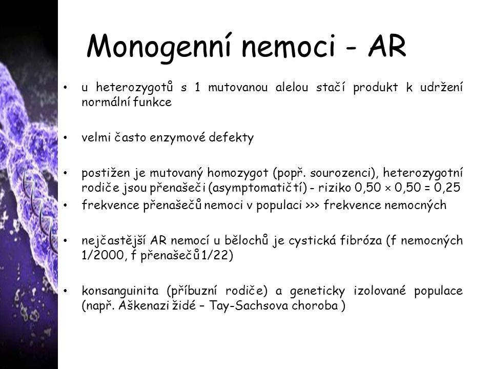 Monogenní nemoci - AR u heterozygotů s 1 mutovanou alelou stačí produkt k udržení normální funkce velmi často enzymové defekty postižen je mutovaný ho