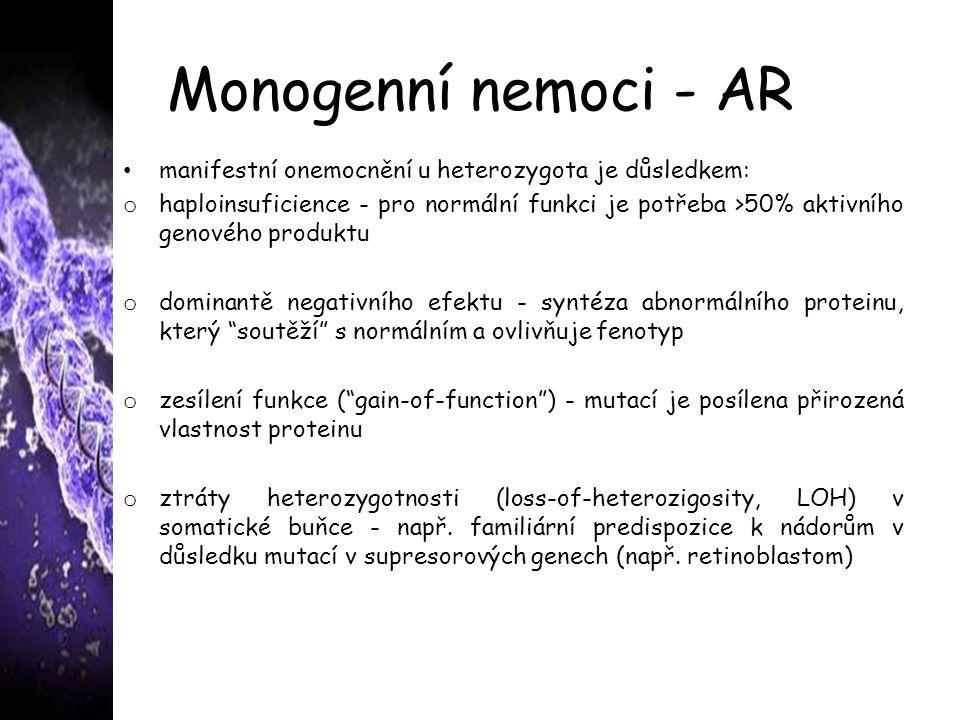 Monogenní nemoci - AR manifestní onemocnění u heterozygota je důsledkem: o haploinsuficience - pro normální funkci je potřeba >50% aktivního genového produktu o dominantě negativního efektu - syntéza abnormálního proteinu, který soutěží s normálním a ovlivňuje fenotyp o zesílení funkce ( gain-of-function ) - mutací je posílena přirozená vlastnost proteinu o ztráty heterozygotnosti (loss-of-heterozigosity, LOH) v somatické buňce - např.