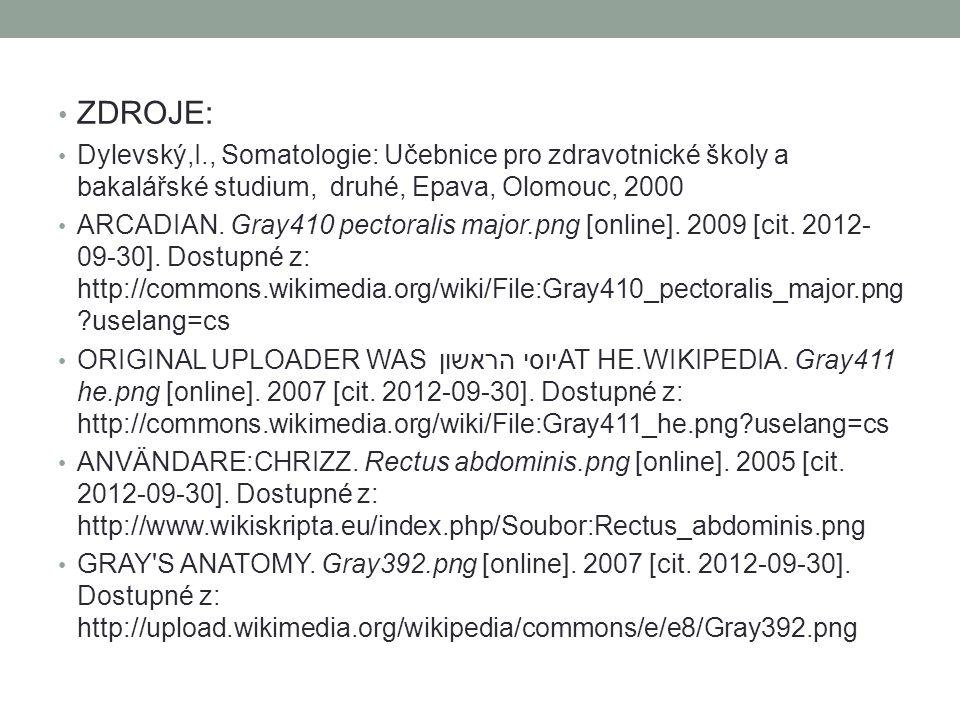 ZDROJE: Dylevský,I., Somatologie: Učebnice pro zdravotnické školy a bakalářské studium, druhé, Epava, Olomouc, 2000 ARCADIAN.