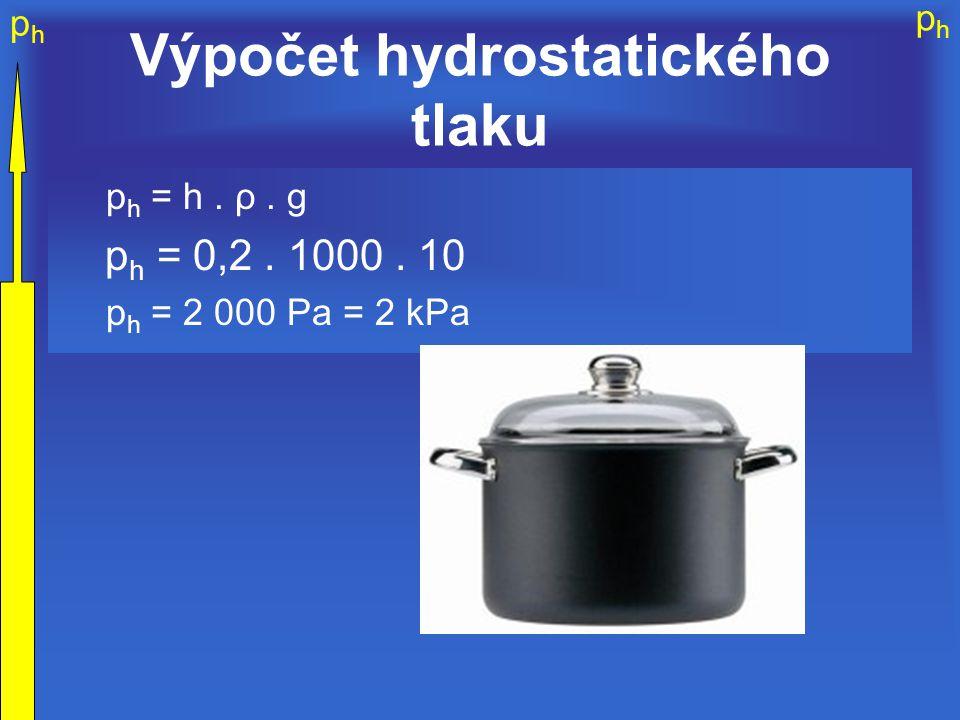 phph phph Výpočet hydrostatického tlaku p h = h. ρ. g p h = 0,2. 1000. 10 p h = 2 000 Pa = 2 kPa